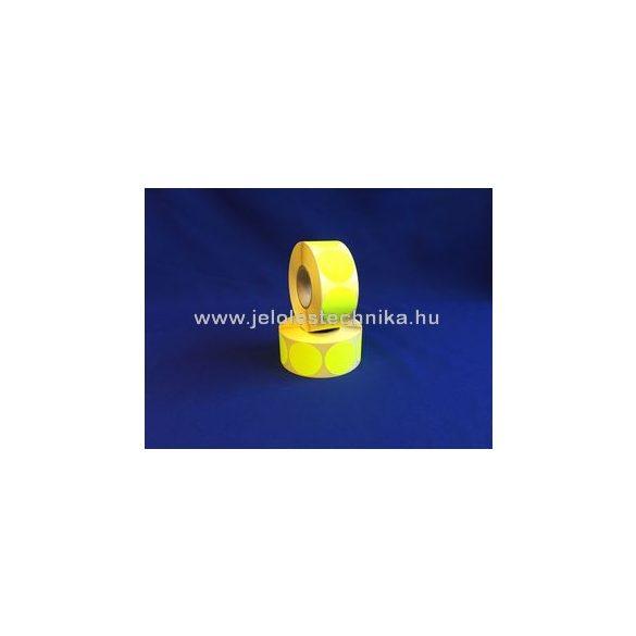 38mm FLUO citromsárga körcímke, 1000db/tekercs