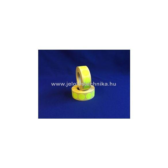 20mm FLUO citromsárga körcímke, 1000db/tekercs