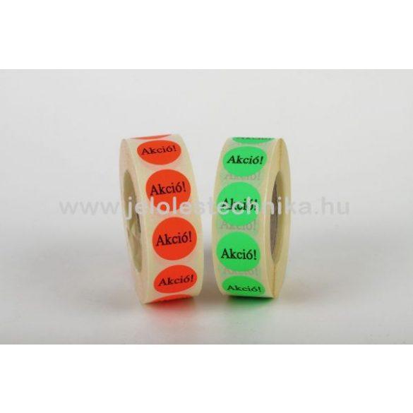 20mm AKCIÓ feliratos fluo piros körcímke, 1000db/tekercs