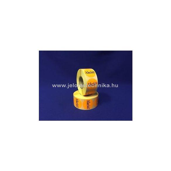 20mm AKCIÓ feliratos fluo narancssárga körcímke, 1000db/tekercs