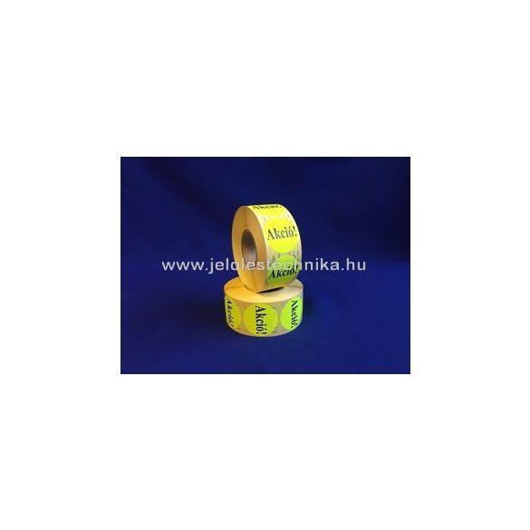 20mm AKCIÓ feliratos fluo citromsárga körcímke, 1000db/tekercs