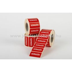 25x50mm SÜRGŐS feliratos címke, 1000db/tekercs