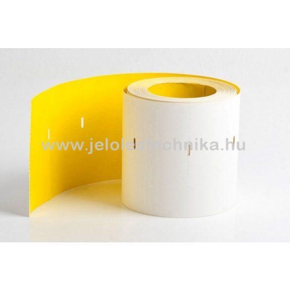 40x80mm thermo -jobb lyukas- citrom színű kartoncímke, 500db/tekercs