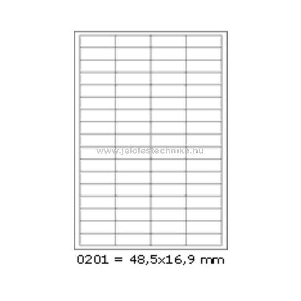 Íves A4 etikett = 48,5x16,9mm; 68db/ív; 100 ív/doboz