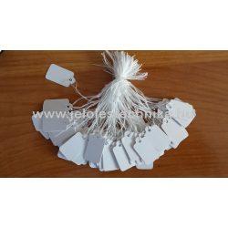Ékszercímke zsinóros 11×22mm fehér