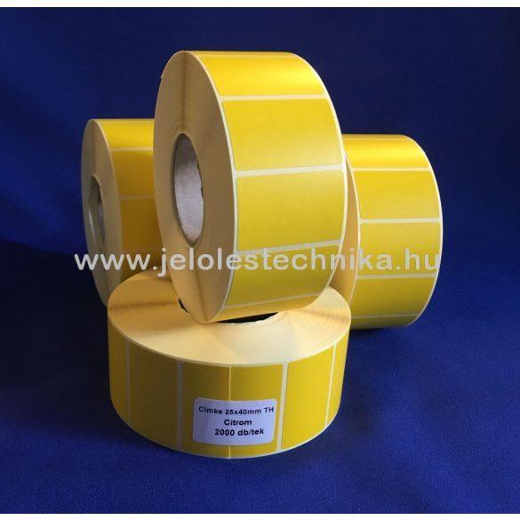 25x40mm THERMO citromsárga öntapadós címke, 2000db/tek