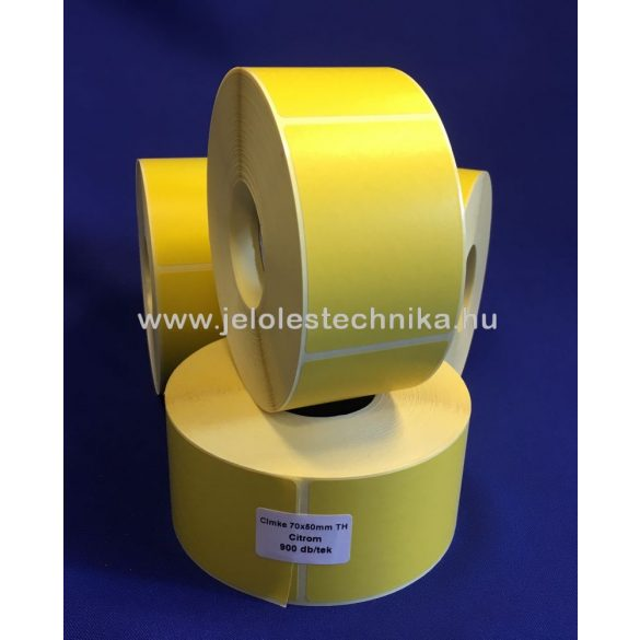 70x50mm Vellum (matt papír) citromsárga öntapadós címke, 900db/tekercs